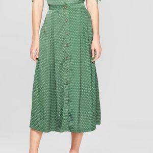 Women's Polka Dot Button Front A-Line Midi Skirt